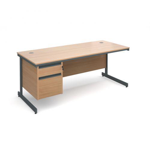 Maestro cantilever leg straight desk with 2 drawer pedestal 1786mm - beech