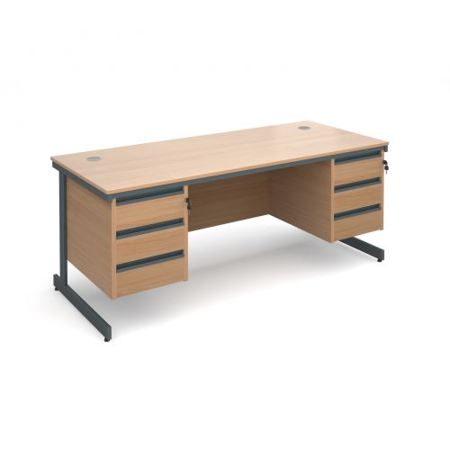 Maestro cantilever leg straight desk with 3 and 3 drawer pedestals 1786mm - beech