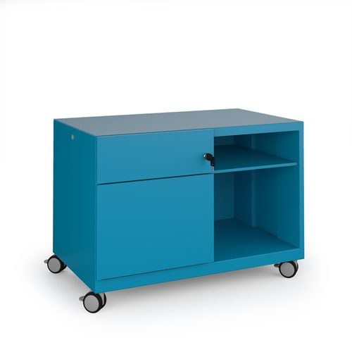 Image for Bisley steel caddy left hand storage unit 800mm - blue