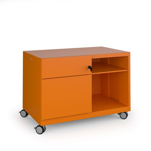 Image for Bisley steel caddy left hand storage unit 800mm - orange