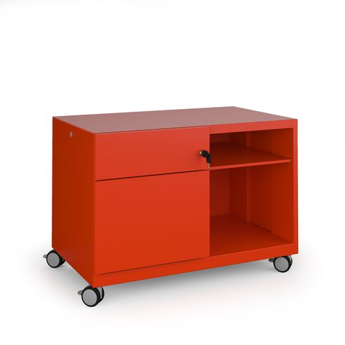 Image for Bisley steel caddy left hand storage unit 800mm - red