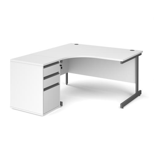 Image for Contract 25 1400mm LH ergonomic desk with graphite cantilever leg and 600mm 3 drawer desk high pedestal - white