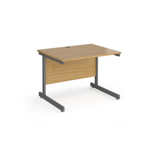 Contract 25 straight desk with graphite cantilever leg 1000mm x 800mm - oak top