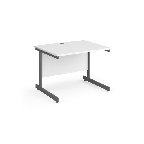 Contract 25 straight desk with graphite cantilever leg 1000mm x 800mm - white top