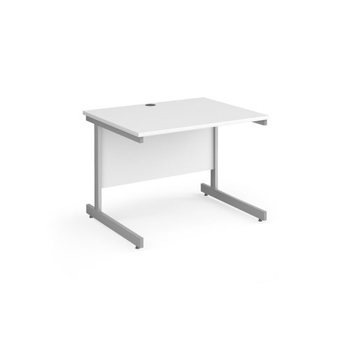 Contract 25 straight desk with silver cantilever leg 1000mm x 800mm - white top