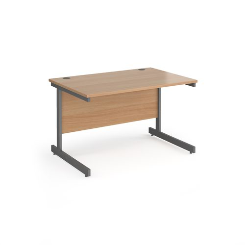 Contract 25 straight desk with graphite cantilever leg 1200mm x 800mm - beech top
