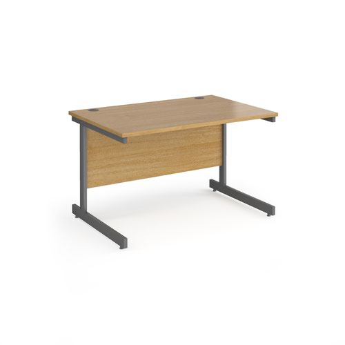 Contract 25 straight desk with graphite cantilever leg 1200mm x 800mm - oak top