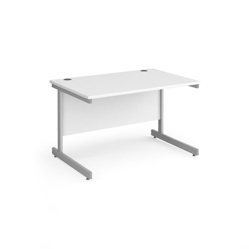 Contract 25 straight desk with silver cantilever leg 1200mm x 800mm - white top
