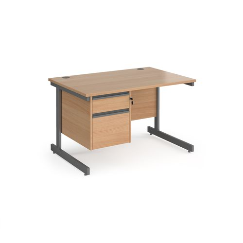 Contract 25 straight desk with 2 drawer pedestal and graphite cantilever leg 1200mm x 800mm - beech top