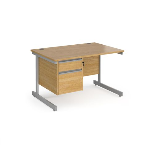 Contract 25 straight desk with 2 drawer pedestal and silver cantilever leg 1200mm x 800mm - oak top