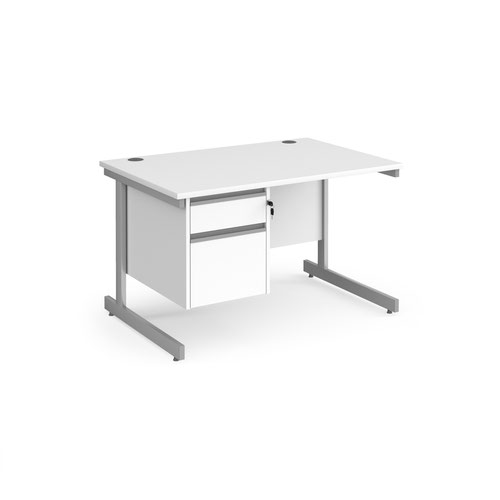 Contract 25 straight desk with 2 drawer pedestal and silver cantilever leg 1200mm x 800mm - white top