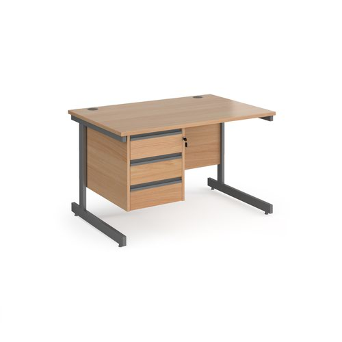 Contract 25 straight desk with 3 drawer pedestal and graphite cantilever leg 1200mm x 800mm - beech top