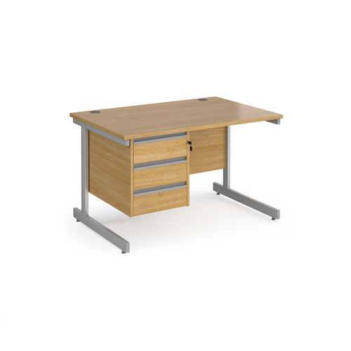 Contract 25 straight desk with 3 drawer pedestal and silver cantilever leg 1200mm x 800mm - oak top