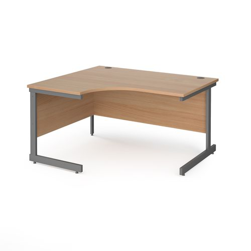Contract 25 left hand ergonomic desk with graphite cantilever leg 1400mm - beech top