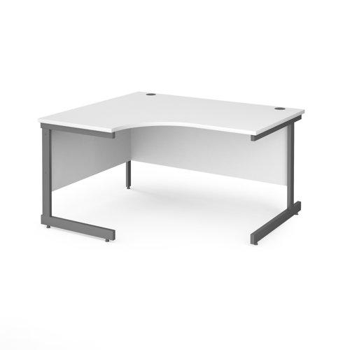 Contract 25 left hand ergonomic desk with graphite cantilever leg 1400mm - white top