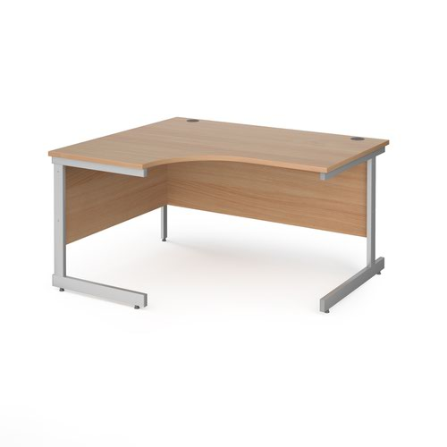 Contract 25 left hand ergonomic desk with silver cantilever leg 1400mm - beech top