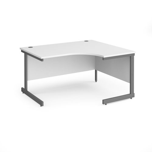 Contract 25 right hand ergonomic desk with graphite cantilever leg 1400mm - white top