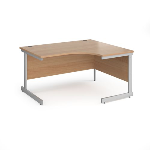 Contract 25 right hand ergonomic desk with silver cantilever leg 1400mm - beech top