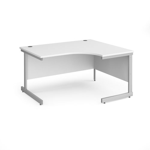 Contract 25 right hand ergonomic desk with silver cantilever leg 1400mm - white top