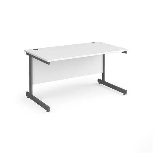 Contract 25 straight desk with graphite cantilever leg 1400mm x 800mm - white top