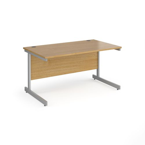 Contract 25 straight desk with silver cantilever leg 1400mm x 800mm - oak top