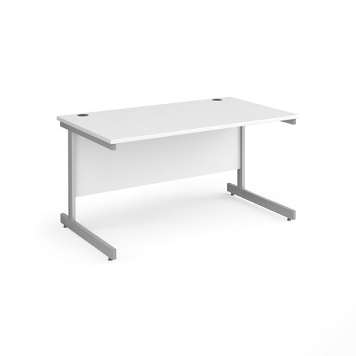 Contract 25 straight desk with silver cantilever leg 1400mm x 800mm - white top