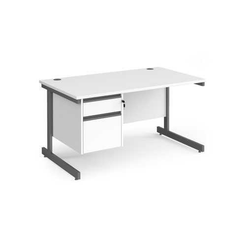 Contract 25 straight desk with 2 drawer pedestal and graphite cantilever leg 1400mm x 800mm - white top