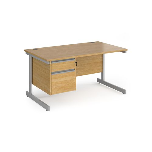 Contract 25 straight desk with 2 drawer pedestal and silver cantilever leg 1400mm x 800mm - oak top