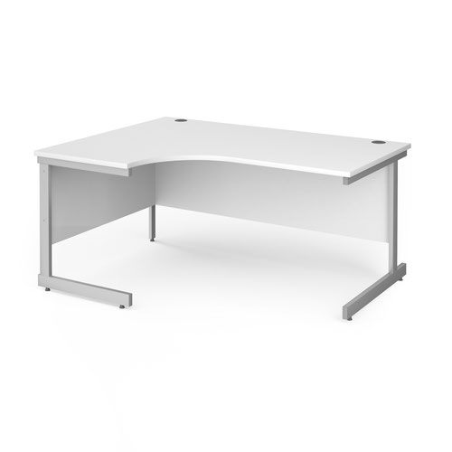 Contract 25 left hand ergonomic desk with silver cantilever leg 1600mm - white top