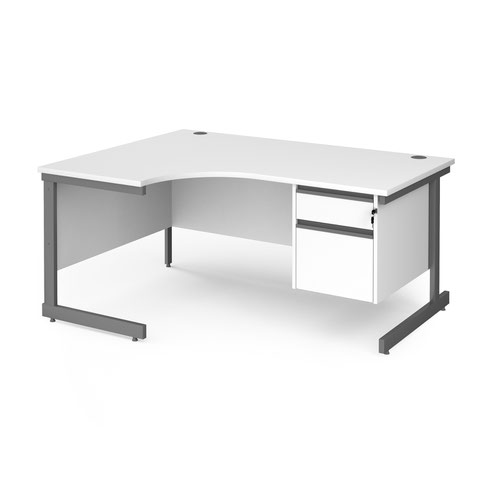 Contract 25 left hand ergonomic desk with 2 drawer pedestal and graphite cantilever leg 1600mm - white top