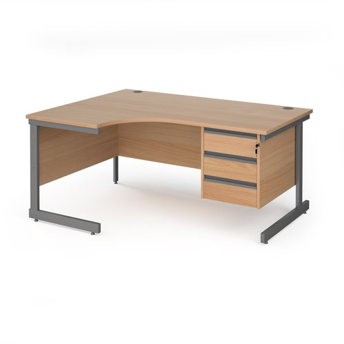 Contract 25 left hand ergonomic desk with 3 drawer pedestal and graphite cantilever leg 1600mm - beech top