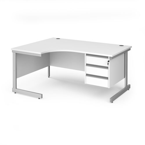 Contract 25 left hand ergonomic desk with 3 drawer pedestal and silver cantilever leg 1600mm - white top