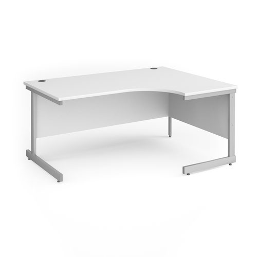 Contract 25 right hand ergonomic desk with silver cantilever leg 1600mm - white top