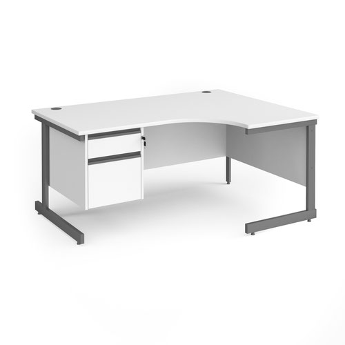 Contract 25 right hand ergonomic desk with 2 drawer pedestal and graphite cantilever leg 1600mm - white top