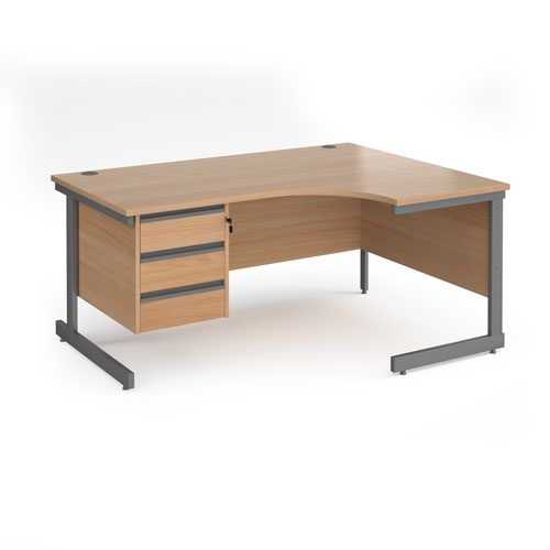 Contract 25 right hand ergonomic desk with 3 drawer pedestal and graphite cantilever leg 1600mm - beech top