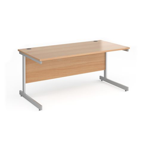 Contract 25 straight desk with silver cantilever leg 1600mm x 800mm - beech top