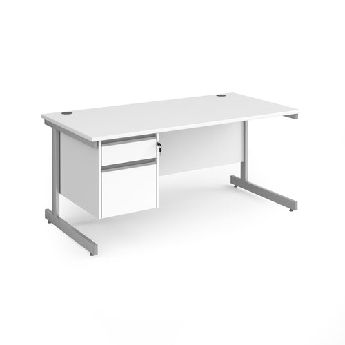 Contract 25 straight desk with 2 drawer pedestal and silver cantilever leg 1600mm x 800mm - white top