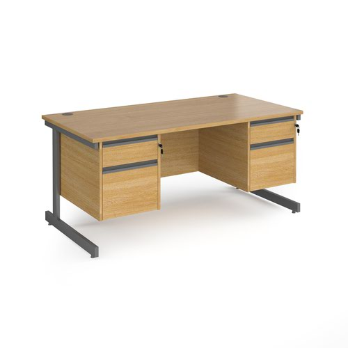 Contract 25 straight desk with 2 and 2 drawer pedestals and graphite cantilever leg 1600mm x 800mm - oak top