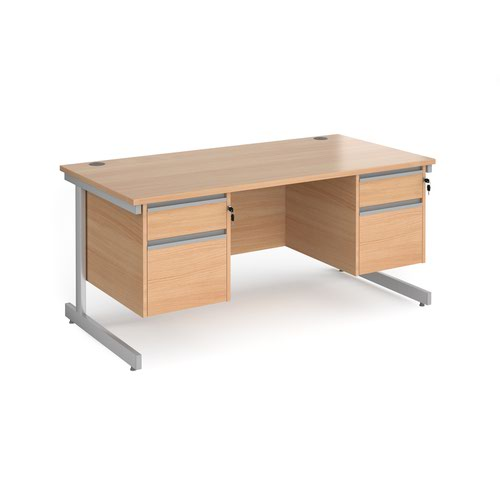 Contract 25 straight desk with 2 and 2 drawer pedestals and silver cantilever leg 1600mm x 800mm - beech top
