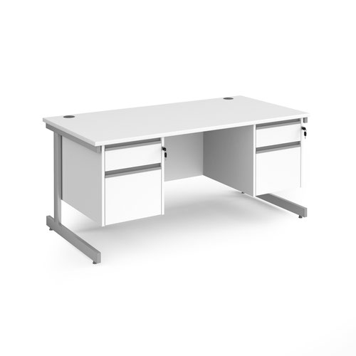 Contract 25 straight desk with 2 and 2 drawer pedestals and silver cantilever leg 1600mm x 800mm - white top