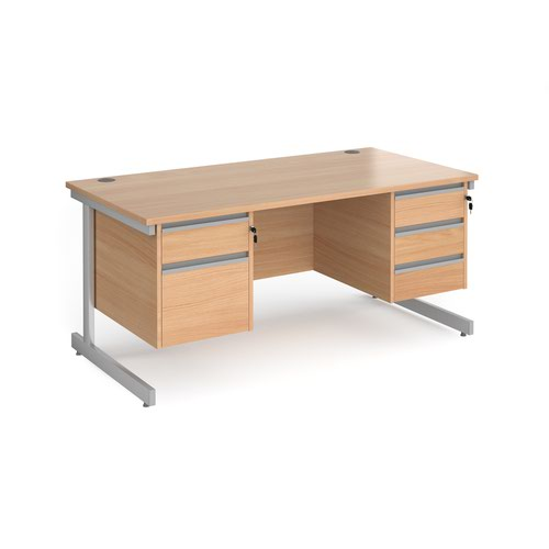 Contract 25 straight desk with 2 and 3 drawer pedestals and silver cantilever leg 1600mm x 800mm - beech top