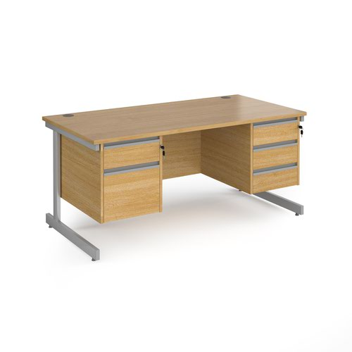 Contract 25 straight desk with 2 and 3 drawer pedestals and silver cantilever leg 1600mm x 800mm - oak top