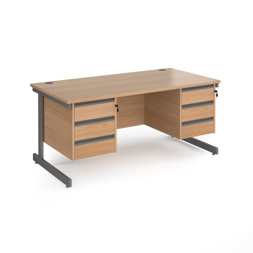 Contract 25 straight desk with 3 and 3 drawer pedestals and graphite cantilever leg 1600mm x 800mm - beech top
