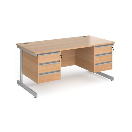 Contract 25 straight desk with 3 and 3 drawer pedestals and silver cantilever leg 1600mm x 800mm - beech top