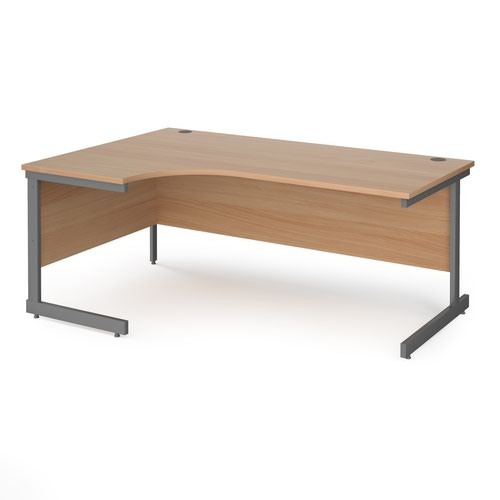 Contract 25 left hand ergonomic desk with graphite cantilever leg 1800mm - beech top