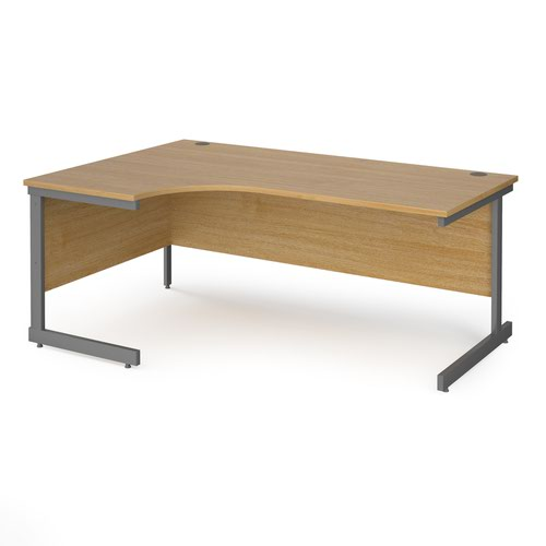 Contract 25 left hand ergonomic desk with graphite cantilever leg 1800mm - oak top
