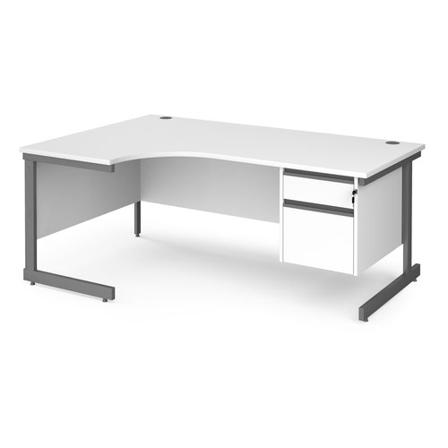 Contract 25 left hand ergonomic desk with 2 drawer pedestal and graphite cantilever leg 1800mm - white top