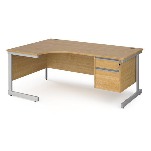 Contract 25 left hand ergonomic desk with 2 drawer pedestal and silver cantilever leg 1800mm - oak top