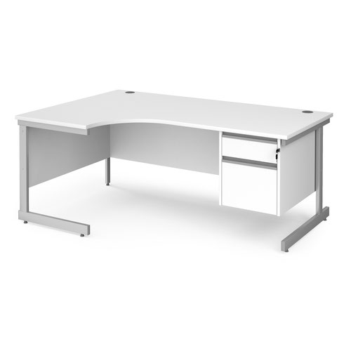 Contract 25 left hand ergonomic desk with 2 drawer pedestal and silver cantilever leg 1800mm - white top