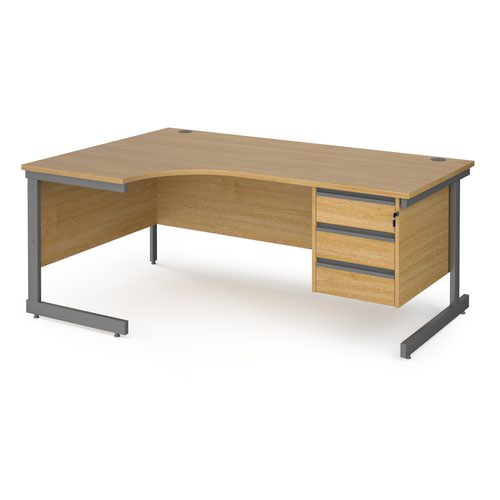 Contract 25 left hand ergonomic desk with 3 drawer pedestal and graphite cantilever leg 1800mm - oak top